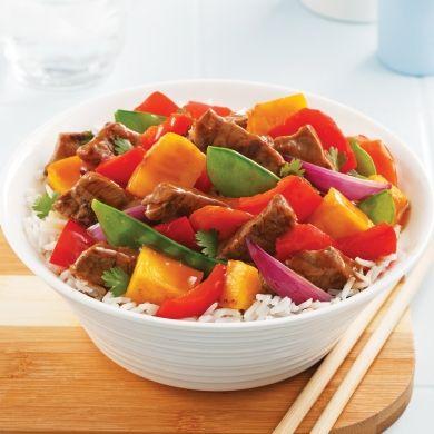 Sauté au boeuf, légumes et mangue - Recettes - Cuisine et nutrition - Pratico Pratiques