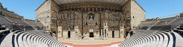 Panoramic view of the ancient Roman theater in Orange, France, a World Heritage Site, 1st century CE