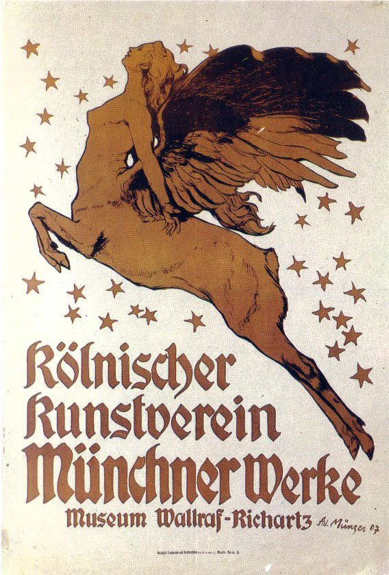 Vintage poster by Adolf Münzer (German, 1870–1952), advertising a modern art gallery of Brakl in Munich. Done in Art Nouveau style (known as Jugendstil in Germany and Moderne in Russia) depicts a female centaur flying amidst the stars