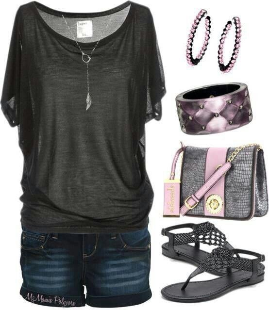 Hate the accessories, but love the drapey top and shorts. -SF