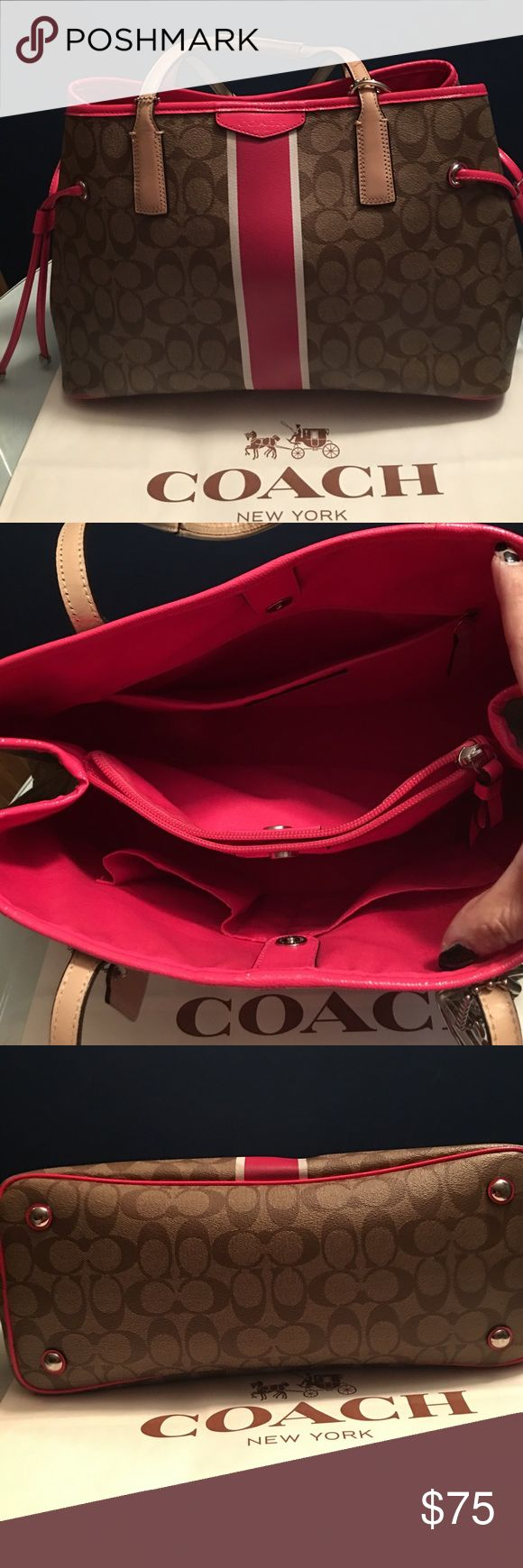 1💯% Authentic Coach Tote Bag 💝💝💝 💯% authentic Coach Tote Bag. There's little tiny scratch at the front of bag (pink area) and one side of strap is a bit worn out ( see last picture) 💝💝💝💝 Coach Bags Totes