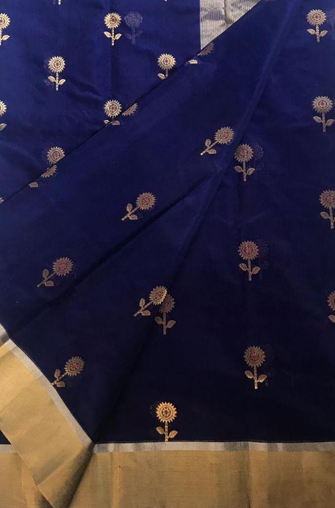 522ab7d17 Buy online Blue Handloom Chanderi Silk Cotton Floral Design Meena ...