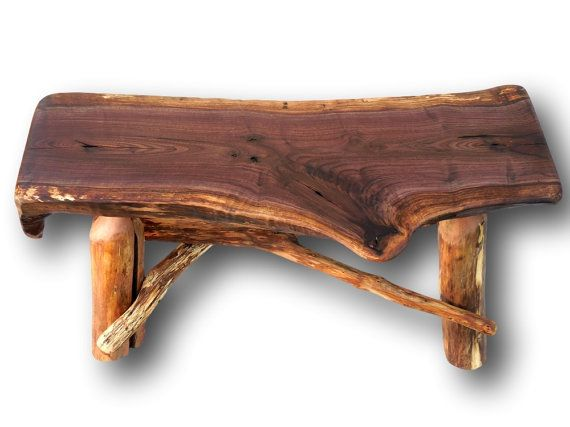Made from reclaimed wood. A really great and heavy black walnut log bench.  A great piece of rustic furniture - 29 Best Rustic Furniture, Deadwood Collection Images On Pinterest