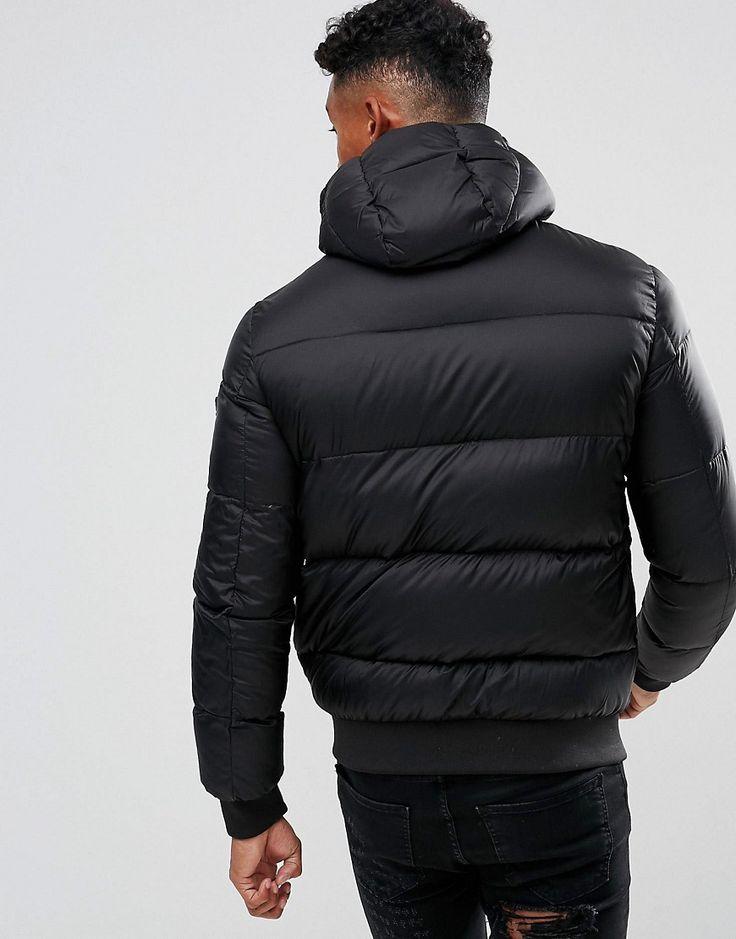Armani Jeans Down Textured Padded Hooded Bomber Jacket Black - Black
