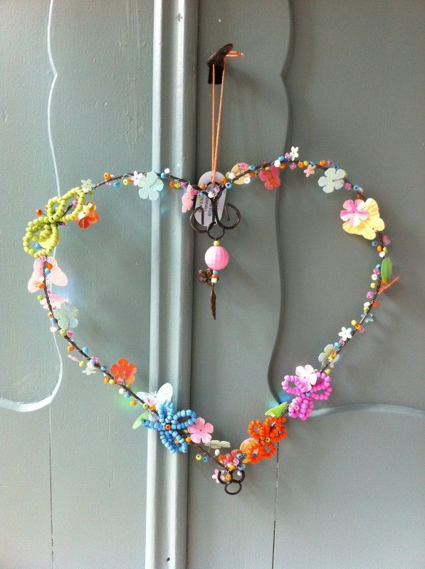 Wire-wrapped beaded heart