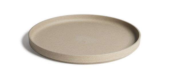 Large Japanese Porcelain Plate (Tan) Made from a proprietary blend of clay from Hasami, Nagasaki