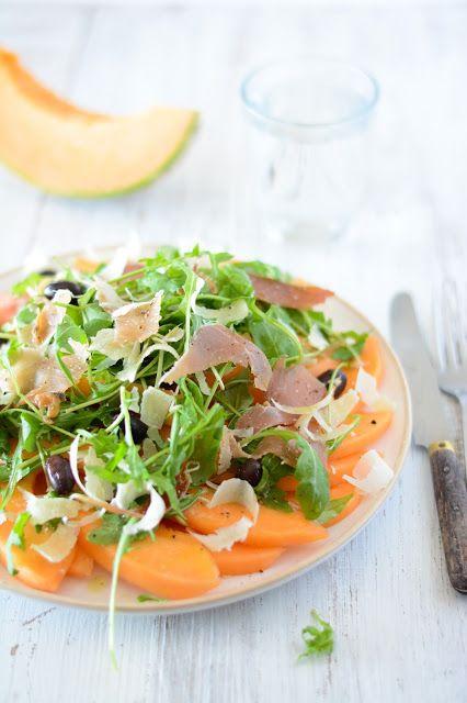 Salade de melon, jambon de pays et parmesan