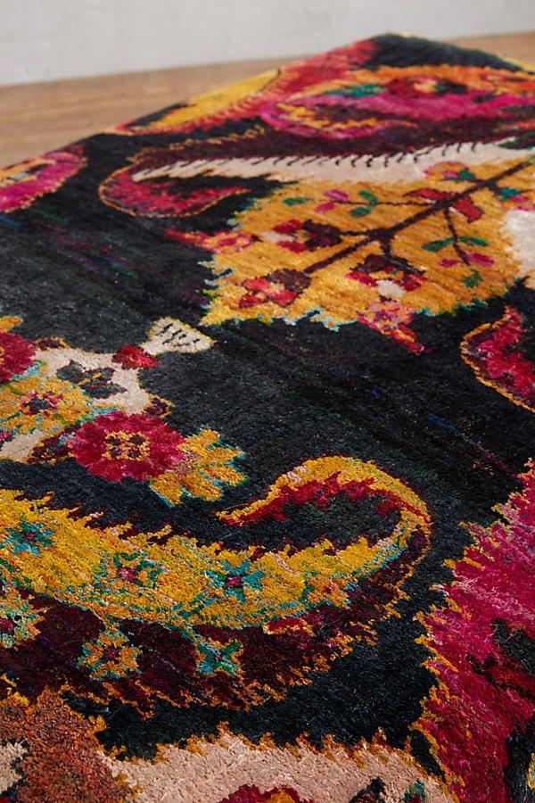 Slide View: 2: Paisley Silk Carpet Ottoman