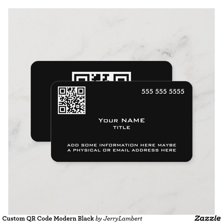 Custom qr code modern black business card in