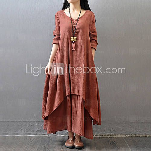 Women's Solid Red/White/Yellow Dress , Casual/Maxi/Plus Sizes False Two Literature and art Long Sleeve (Linen/Cotton) 4240834 2016 – $16.99