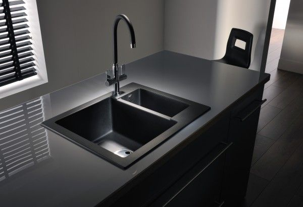 Black kitchen sink black kitchen sinks fashionable and for Colored stainless steel sinks