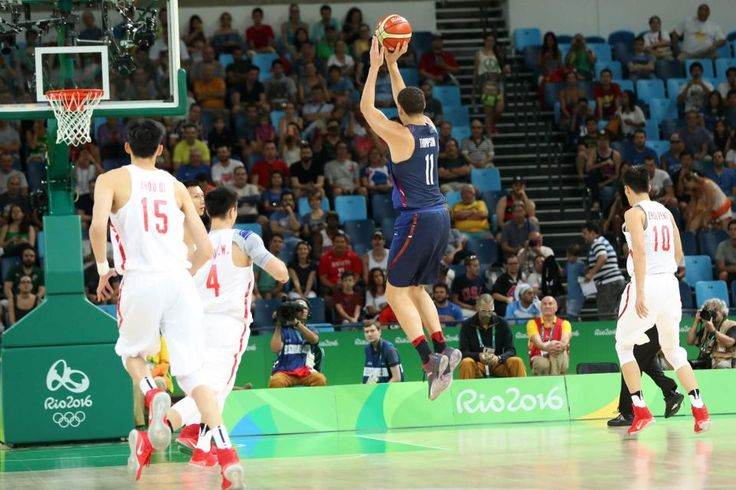 Klay Thompson of United States makes a shot against China on Day 1 of the Rio 2016 Olympic Games at Carioca Arena 1 on August…