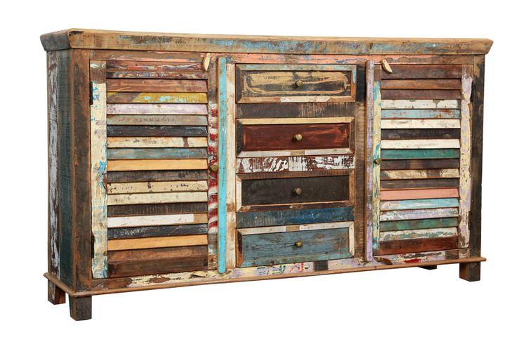 Reclaimed Indian Sideboard Colorful 2 Shutter Door 4 Drawer Distressed Painted Rustic Vintage Handmade - Reclaimed Furniture - Furniture