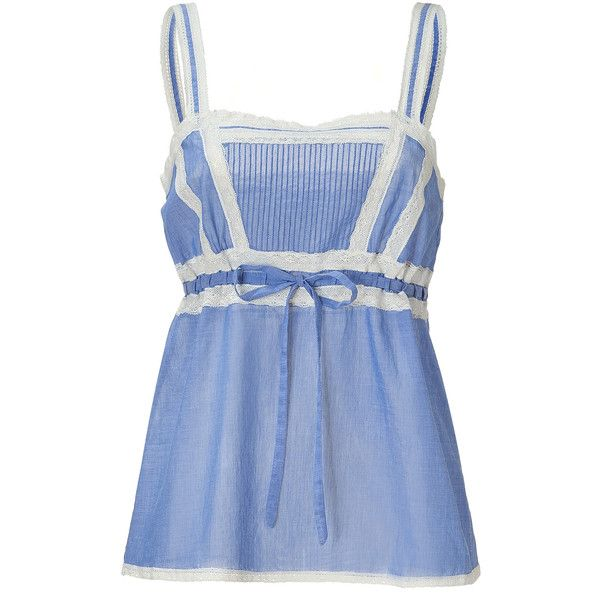 PAUL & JOE Light Blue Cami Top With Lace Trim ❤ liked on Polyvore