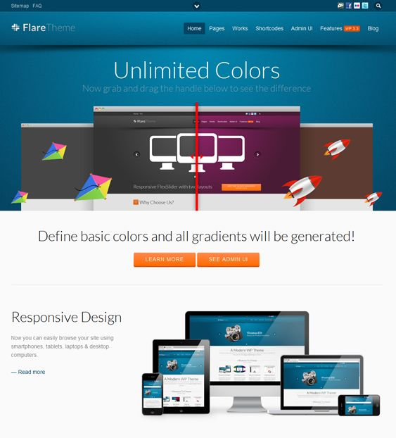 This responsive WordPress theme boasts video support through lightbox, a shortcode generator, several custom widgets, unlimited sidebars, a powerful admin panel, and lots of other cool features.