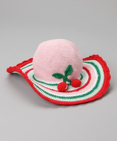 Take a look at this Pink Cherry Crochet Sun Hat by San Diego Hat Company on #zulily today!