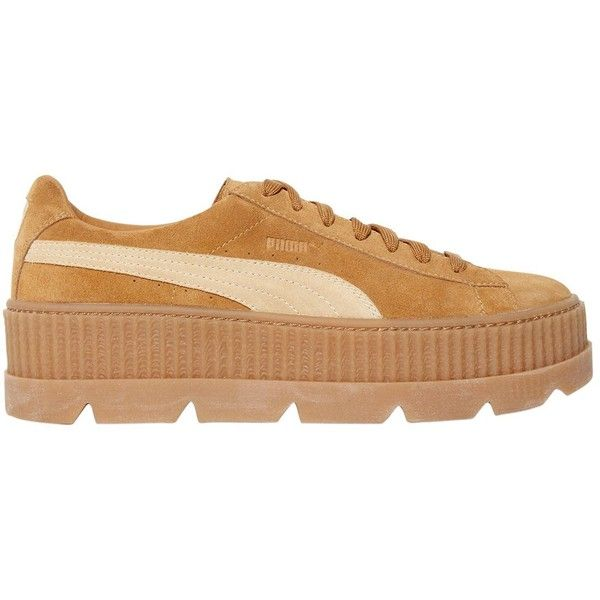 Fenty X Puma Women 40mm Cleated Creeper Suede Sneakers ($225) ❤ liked on Polyvore featuring shoes, sneakers, golden brown, rubber sole shoes, puma creeper, creeper shoes, logo shoes and brown suede sneakers