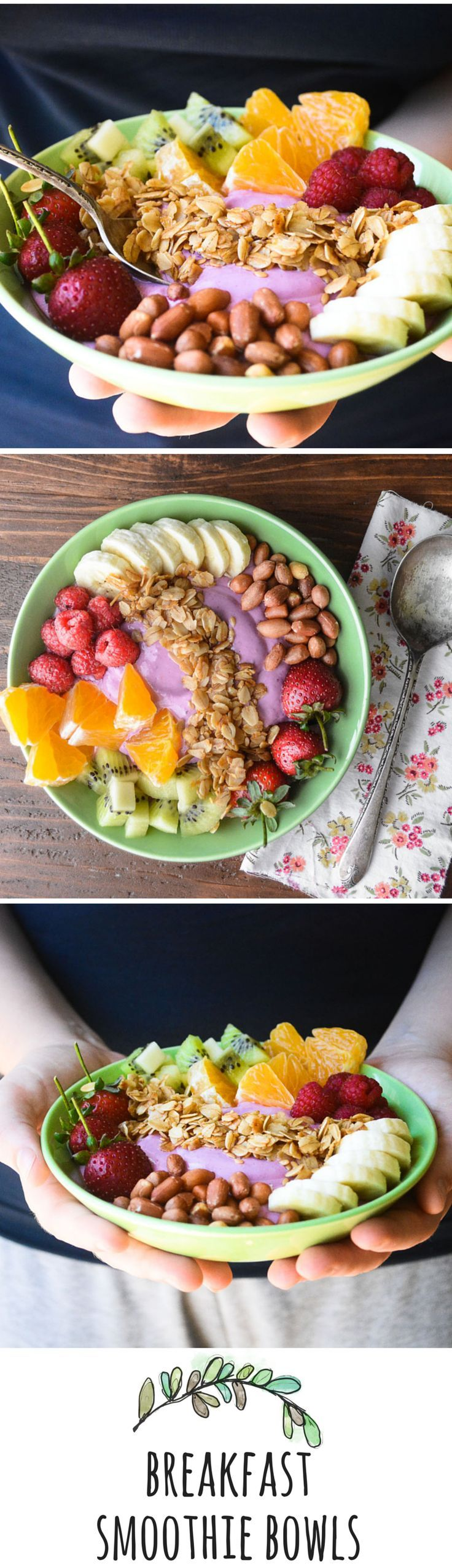 Breakfast Smoothie Bowls - You don't have to 'drink' your breakfast anymore to get the healthy benefits of a smoothie! #healthy #breakfast #smoothiebowl