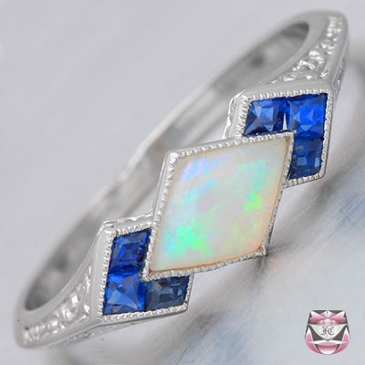Art Deco Platinum Opal Ring