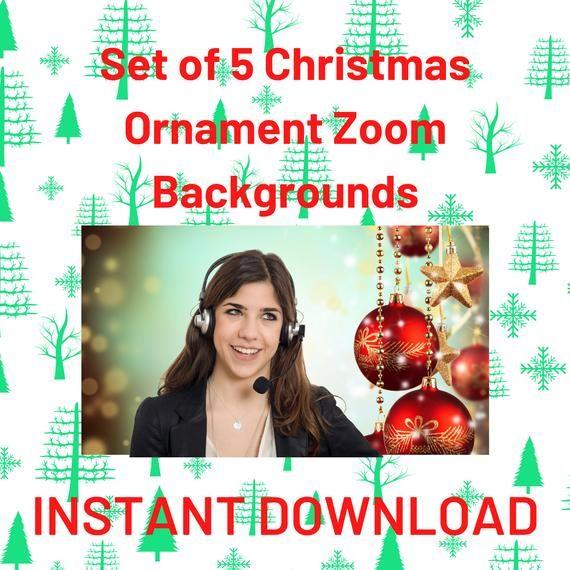 Set Of 5 Christmas Ornaments Zoom Digital Virtual Etsy Christmas Ornaments Christmas Holiday Pictures