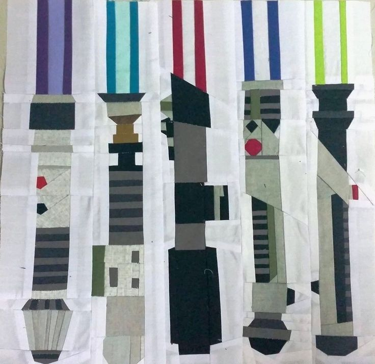 "Light Sabers  by Gretchen Kohlhaas  Tested by Karen McGuigan  12"" Paper Pieced  #Starwarsdesign  Free from fandominstitches.com Free for personal and non-profit use only"