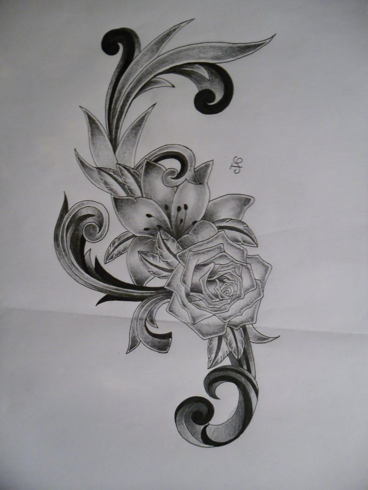 34 best tropical flower tattoos black and grey images on for Lily rose designer