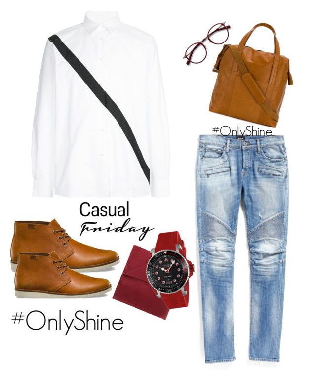 CasualRed by onlyshinerd on Polyvore featuring polyvore Public School Hudson Jeans Vans Gucci Maison Margiela Lanvin EyeBuyDirect.com men's fashion menswear clothing