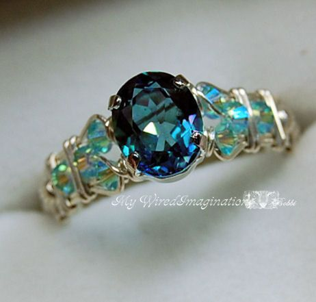 Peacock Blue Mystic Topaz Wire Wrapped Ring by MyWiredImagination