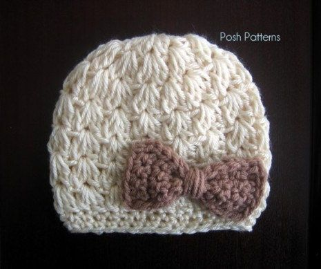 PDF crochet pattern: Elegant Cluster Stitch Hat Crochet Pattern. ❤ Crochet a cozy hat, with a cute bow embellishment, using this fun crochet pattern. It makes a perfect accessory for babies, girls and ladies! Sizes included: Newborn to 3 Months, 3 to 6 Months, 6 to 12 Months, Toddler, 5T to Adult. Requires worsted weight yarn and size i crochet hook. PATTERN SHOP Be sure to check out the other modern and fun crochet patterns and knitting patterns in my shop! https://www.etsy.com/shop/Po...