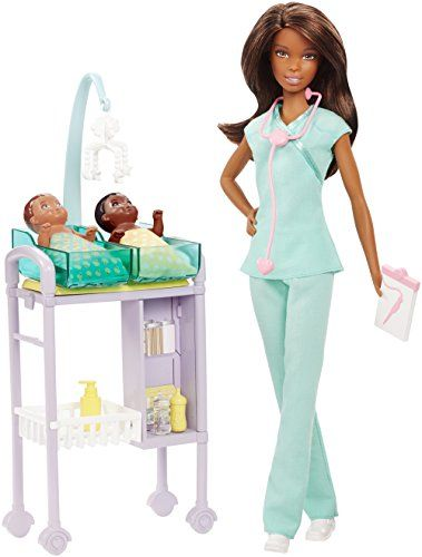 On Sale for a short time: Let young imaginations be the doctor with Barbie dolls and medical play sets! Barbie baby doctor doll is ready to see patients with an exam table, accessories to care for patients and two adorable babies Her office set does double duty with a care station that features two tubs, a moving mobile and storage space