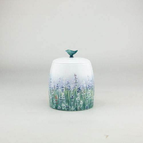 Lalala Lavande,  SugarBowl handthrown from the purest white Jingdezhen Porcelain then handpainted by our team of dedicated artists   Tea ware coffee ware by Spherebol