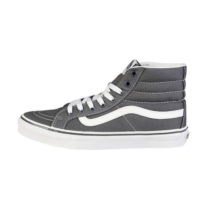 Vans alte nere e grigie SK8, sneakers stringate alte, tomaia in tela resistente a doppia impuntura, occhielli in metallo, prezzo imbattibile 42€
