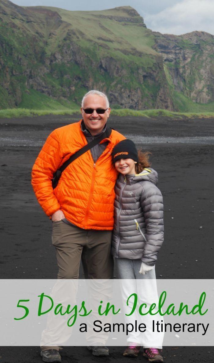 5 Days in Iceland -- a sample itinerary with stops  in Reykjavik, Seljalandfoss, Skogafoss, Dyrhaloey, Vik, Jokursarlon, The Golden Circle, dog sledding, glacier hiking and more.