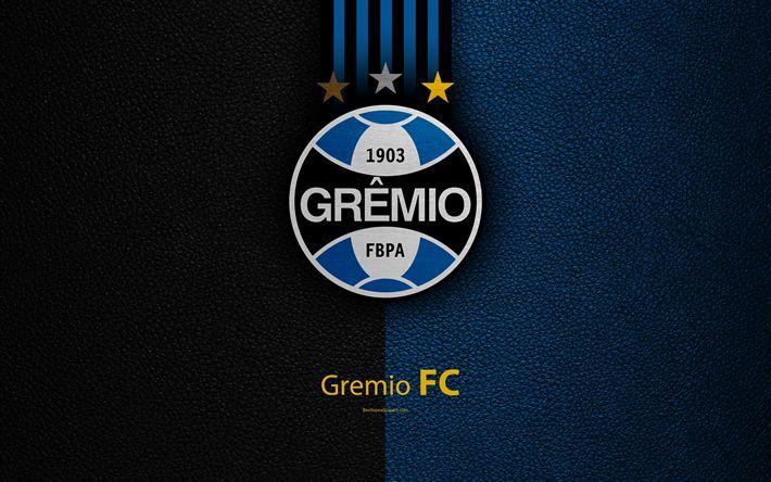 Download wallpapers Gremio FC, 4K, Brazilian football club, Brazilian Serie A, leather texture, emblem, Gremio logo, Porto Alegre, Rio Grande do Sul, Brazil, football