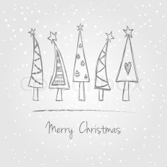 Vector of \'Christmas trees doodle\'