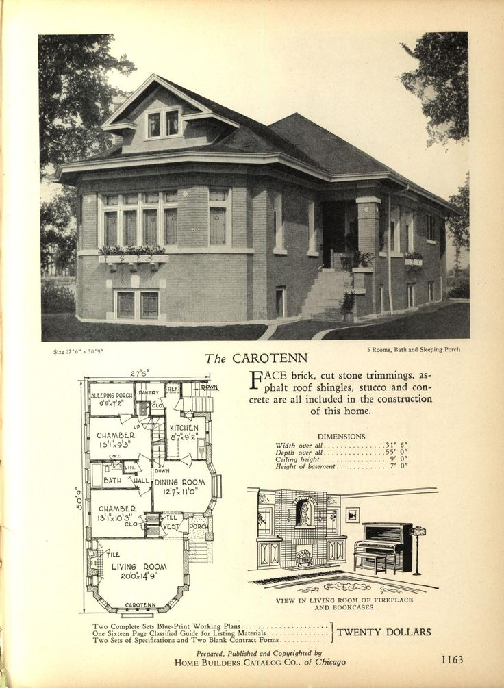 The CAROTENN - Home Builders Catalog: plans of all types of small homes by Home Builders Catalog Co.  Published 1928