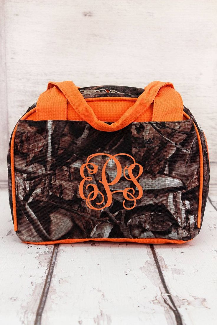 Natural Camo in Orange or Pink Trim Insulated Lunch Bag/ Bowler Type Lunch Bag/ Insulated Lunch Bag for Women/ Insulated Lunch Bag Nurse