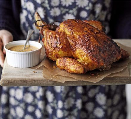 Serve this Indian spiced bird with rice, potatoes and vegetables for an alternative roast dinner