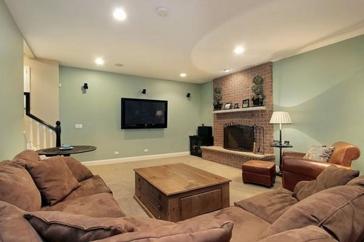 Architecture:Excellent Basement Finishing Ideas With Ceiling Lights And Flat Screen Tv With Brown Sofas And Cushions Also Wooden Table Plus Lounge Chairs As Well As Stand Floor Lamps Along With Wooden Floor The Coolest Basement Finishing Ideas for Your On – going Remodeling Basement