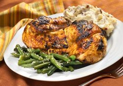 Grilled Chicken and Garlic Mashed Turnips   For 4 servings:    3 lbs. of chickens (breasts, legs, or thighs)   2 tablespoons chopped fresh basil   1/4 cup fresh lemon juice   3 cups diced turnip   2 cloves garlic, minced   3 tablespoons olive oil   Salt