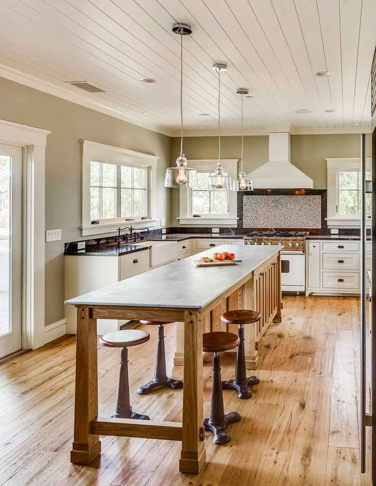 Luxury Narrow Kitchen island with Stools