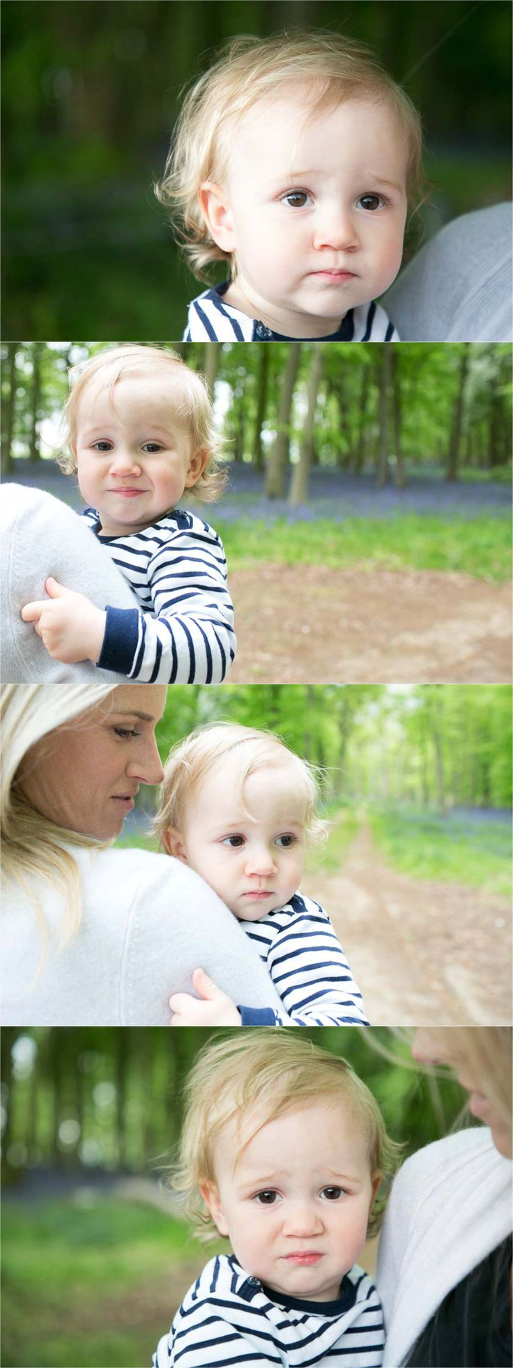 gorgeous facial expressions on one year old at family photo session in bluebell woods, saffron walden