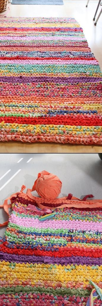Super colorful & large t-shirt rug, single crocheted in simple lines.