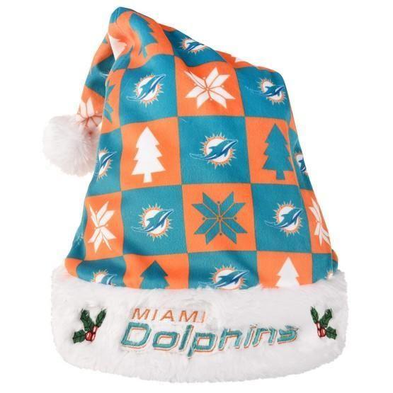 uk availability d923f 2f662 Miami Dolphins Xmas Checkers Santa Hat | Best NFL ...