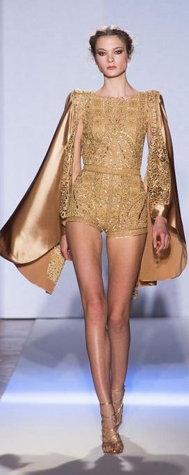 Zuhair Murad - Haute Couture Spring 2013, llike padded shoulder and cape-like extensions.