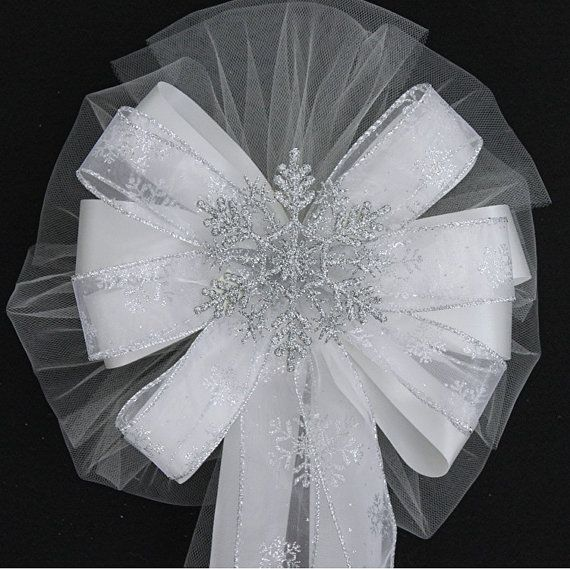 Silver Glitter Snowflake Wedding Pew Bows Church Aisle Ceremony Decorations on Etsy, $7.99