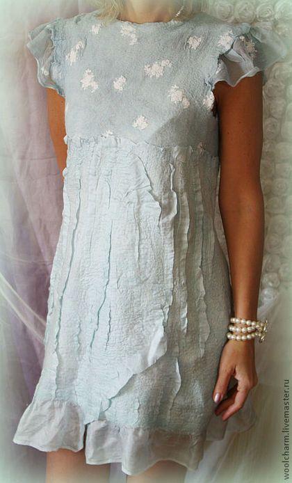 Платье валяное Мятный рассвет - валяное платье,романтичное платье,нежное платье