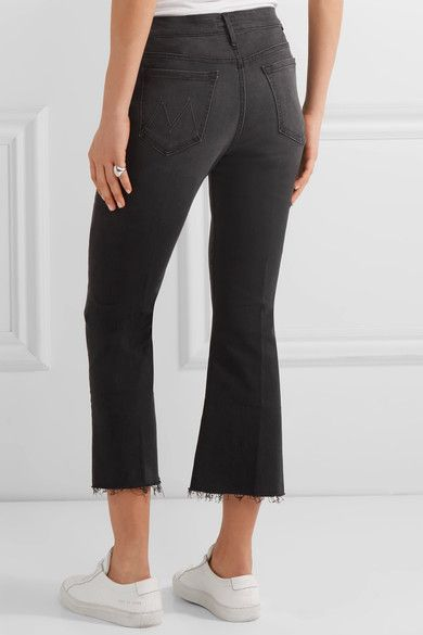 Mother - The Nomad Cropped Mid-rise Flared Jeans - Black - 24