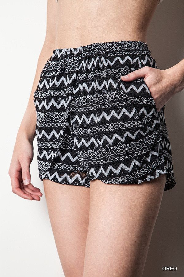 Black Textured Tribal Shorts
