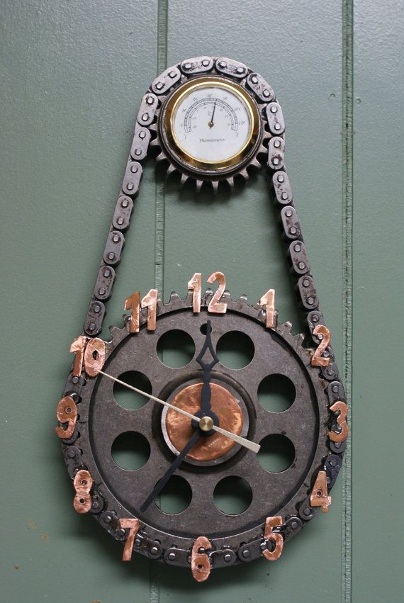 Clock made from timing chain and gears for the Man Cave